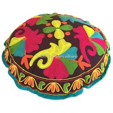 Indian Round Sujani Embroidered Floor Pillow Cover Pouffe Floral Cotton 18""