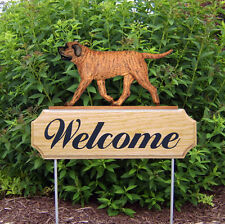 Mastiff Wood Welcome Outdoor Sign Apricot Brindle