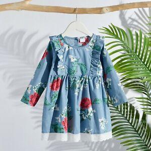 Sweet Vintage Ruffled Long-sleeve LIGHT BLUE DRESS for Toddler Girl - MELB AUS