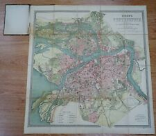 1875 Russia A.Ilyin Saint Petersburg Detailed City Town Plan Litho Map 29x27''