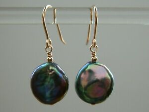 Beautiful Peacock Black Freshwater Coin Pearls & 14ct Rolled Rose Gold Earrings