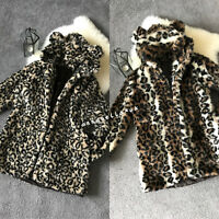 Ladies Women Girls Faux Fur Leopard Print Hooded Coat Mid Long Bear Ear Size8/10