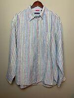 Mckenzie Tribe Mens Linen Blend Long Sleeve Button Up Striped Casual Shirt Sz L