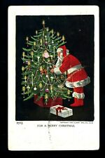 Christmas Santa greetings postcard presents tree Ullman Co. 1906 Vintage #1715