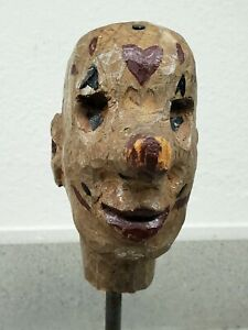19th Century Folk Art Carved and Painted Puppet Head