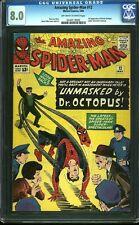 Amazing Spider-man 12 cgc 8.0 Ow/W Silver Key Marvel 3rd App Doc Ock Igkc L@K
