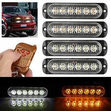 Car 6LED Amber/White Strobe Hazard Flash Lights Dash Emergency Warning Lamps Kit