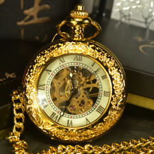 Steampunk Skeleton Mechanical Pocket Men Antique Luxury Hand Wind Gold Chain New