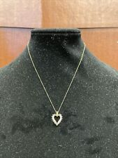 """Women's 14k Solid Yellow Gold And Diamond Chip Heart Pendant On 18"""" 14k Chain"""