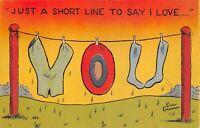 Vintage Just a Short Line to Say I Love You Linen Postcard 1941