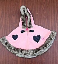 BETSEY JOHNSON baby girl pink faux fur trimmed hooded cape, 12 months, NWT