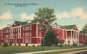 Vintage Postcard 1930's Senior Dormitory Winthrop College Rock Hill SC