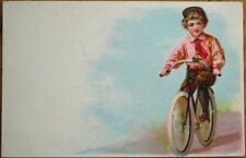 Bicycle Riding Young Boy 1910 Color Litho Postcard - French Back
