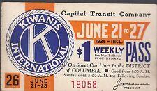 Trolly/Bus pass capital Transit Wash. DC--1936 Kiwanis International-----12