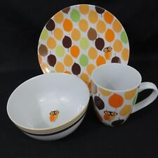 Rachel Ray Little Hoot Owl Leaves 12 Piece Lunch Set 4 each Bowls Plates Mugs