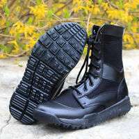 Mens Military jungle combat Leather Black shoes Tactical Hiking breath new Boots