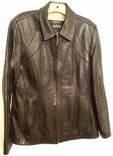 Kasper Black Leather Coat Jacket  L Large Soft Supple Leather