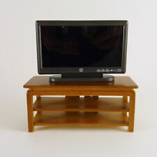 Dollhouse Miniature Wide Screen TV Stand, Walnut, STAND only, T6778
