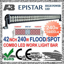 """A&B 42"""" 240W LED OFFROAD DRIVING LIGHT BAR SPOT SPREAD COMBO BEAM + FREE CABLE"""