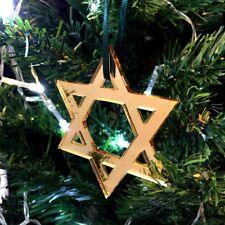 SPECCHIO DORATO STELLA DI DAVIDE Decorazioni Albero Di Natale & verde nastro,
