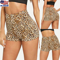 Summer Women Ladies Elastic Leopard Print High Rise Hot Pants Shorts Bottoms USA