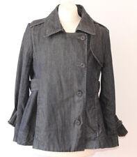 Earl Jeans Denim Jacket Indigo Dark Wash Double Breasted Lagenlook Summer Large