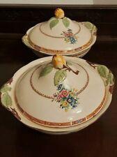 "Royal Cauldon (Est 1774) Vegetable Tureen dish x2  (yellow bud) 9"""