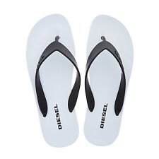 DIESEL Monochrome Black And White V-Strap Flip Flops. Size UK 10, EU 44.