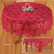 "70""Christmas Tablecloth Table Cloth Cover Red Lace Round Home Party Dinning Room"