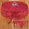 """70""""Christmas Tablecloth Table Cloth Cover Red Lace Round Home Party Dinning Room"""