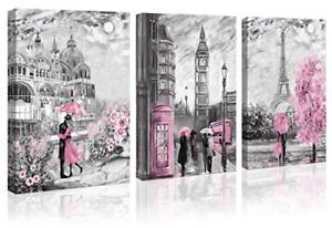 Paris Decor Canvas Wall Art for Living Room Girls Bedroom Pink Paris Theme Oil