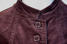 AMBITION Brown Velvet Jacket Coat Size: Medium Naru Collar Four Pocket