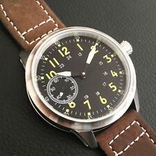 Debert 45mm Schwarz dial Leuchtend seagull 6497 hand winding Herren wrist watch