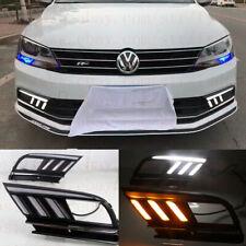 DRL FOR VW JETTA MK7 2015-2018 LED DAYTIME RUNNING LIGHTS FOG LAMP W TURN SIGNAL