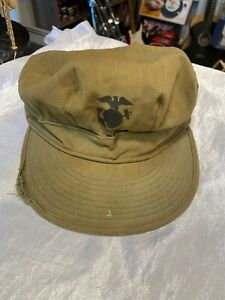 WW2 USMC P44 HBT Field Cap Hat Utility Original Marine Corps Size 7