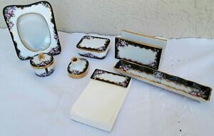 Vintage Hand Painted Porcelain Desk Set 10 Pieces Black with Pink Roses Charming