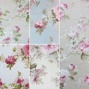 "Rose Garden Design Cotton Rich Linen Fabric Curtaining & Upholstery 54"" Wide"