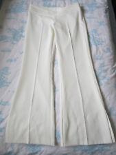 WOMEN TOPSHOP CASUAL SMART WHITE TROUSER SIZE10 STRAIGHT LEG LONG PANTS NAUTICAL