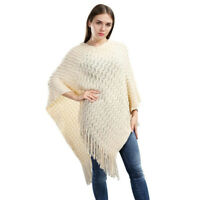 Ivory Knit Crochet Poncho Sweater Cape w/ Sequin & Fringe One Size