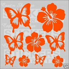 HIBISCUS AND BUTTERFLY DECALS ASST  Captn Skullys Stickers Online MPN 1020