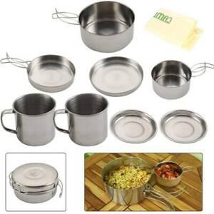 8PC Folding Cooking Picnic Pot Pan Set Outdoor Backpacking Camping Equipment Kit