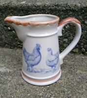 Vintage Stoneware Pitcher Chicken Blue Design Brown Bands Jug