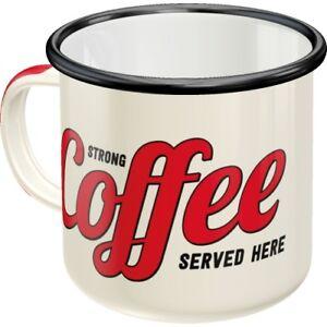 Strong Coffee starker Kaffee Blechtasse Emaille Becher Tasse 8 x 8 cm 360 ml