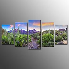 FRAMED Wall Art Decor Purple Mountain Scene Stretched Canvas Painting Print-5p