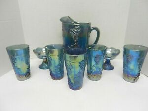 BLUE PURPLE GRAPE HARVEST VINE CARNIVAL GLASS~ PITCHER, GLASSES & CANDLE HOLDERS
