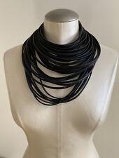 MONIES Leather Multi-Strand Necklace, Black