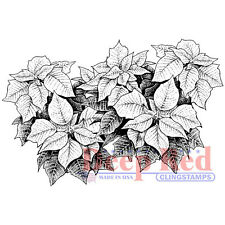 Deep Red Stamps Poinsettia Border Rubber Cling Stamp