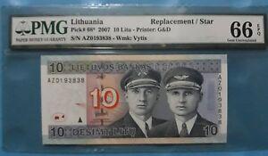 "2007 Lithuania 10 Litu PMG66 EPQ GEM UNC  <P-68*> ""Replacement"""