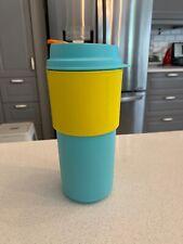 Tupperware Commuter Mug Reusable Coffee Mug 16oz Aruba Sun kissed Blue Yellow
