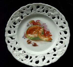 EDWARDIAN DECORATIVE RIBBON PLATE -melon